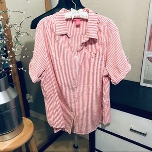 Woman within 1x stripped button down top
